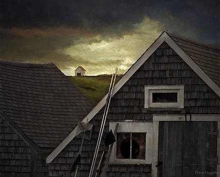 Three Buildings  Monhegan Island Maine by Dave Higgins
