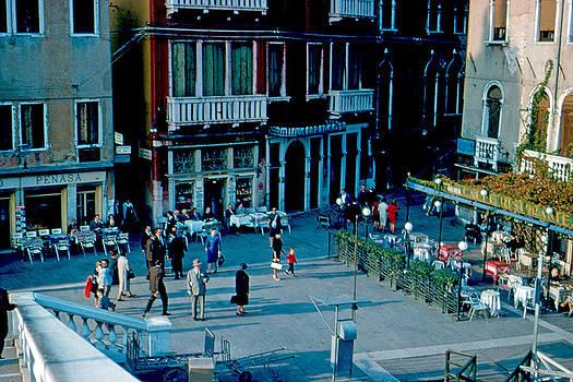 Three Cafes Venice Italy 1961 by Cumberland Warden