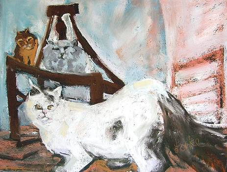 Three Cats and a Chair by Barbara Torke