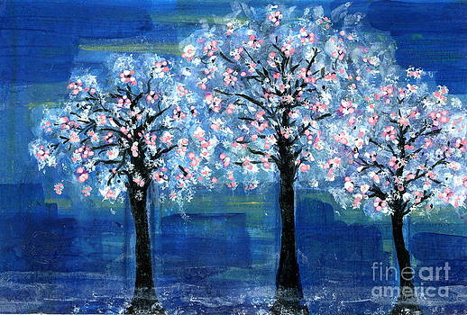 Three Cherry Trees at Night by Natalie Singer