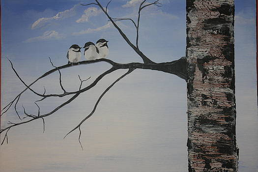 Three Chickadees by Donna Jeanne  Carver