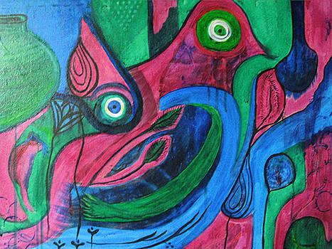Three Dancers Three Birds with Jars by Brenda Nachreiner