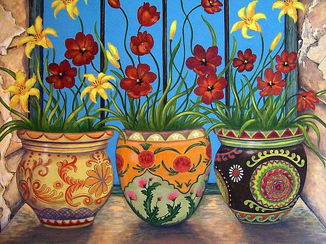 Three Flower Pots by Glenda Stevens