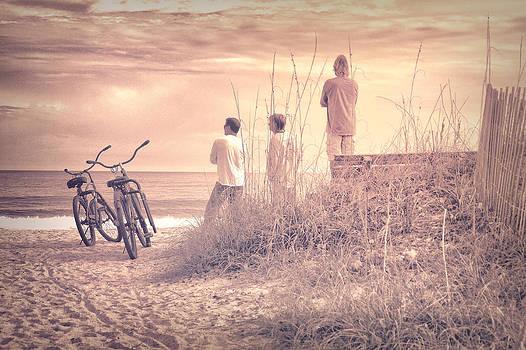 Three Guys Two Bikes One Beach by Phil Mancuso