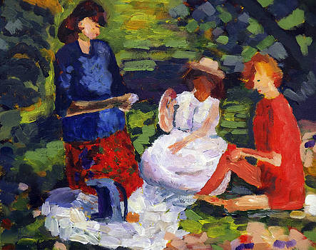 Three ladies at picnic by Andrea Kucza