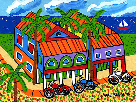 Three Motorcycles at Cedar Key by Mike Segal