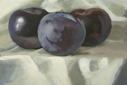 Three plums by Peter Orrock