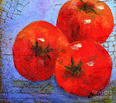 Three Red Tomatoes by Claire Bull