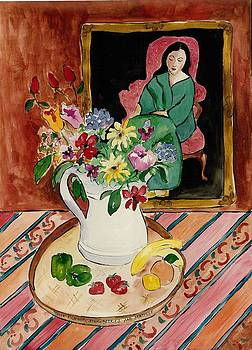 Three Rosebuds Strawberries and Matisse by Elaine Elliott
