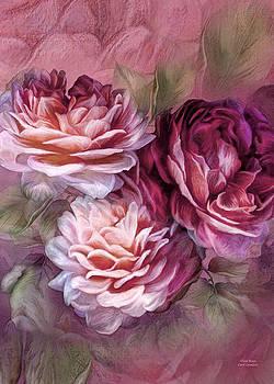 Carol Cavalaris - Three Roses Burgundy Greeting Card