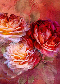 Carol Cavalaris - Three Roses Red Greeting Card