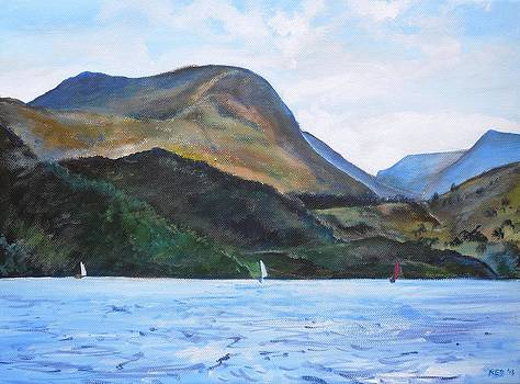 Three sail boats on Ullswater by Robina Osbourne