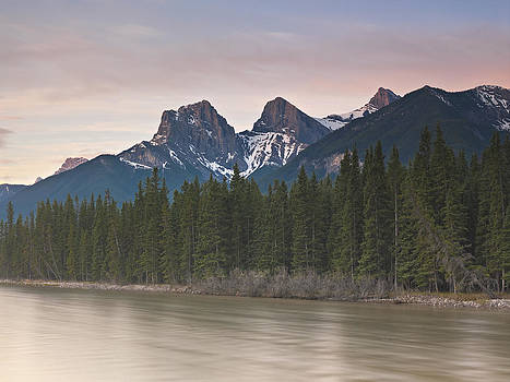 Three sisters and Bow River Canmore by Richard Berry