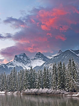 Three Sisters winter sunrise by Richard Berry