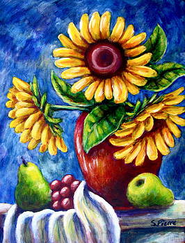 Three Sunflowers and a Pear by Sebastian Pierre