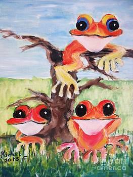 Three tee frogs by Rachel Carmichael