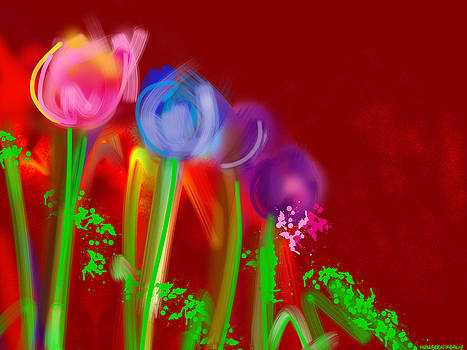 Three Tulips in a Row by Maureen Kealy