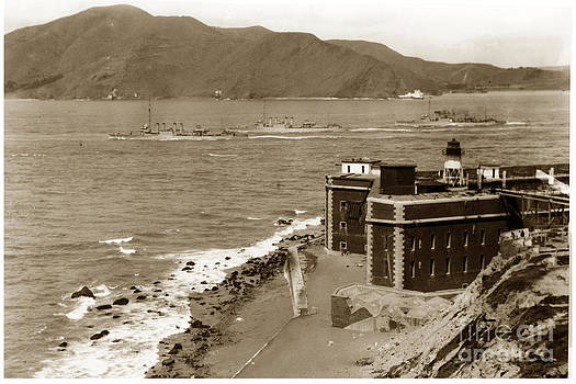 California Views Mr Pat Hathaway Archives - Three U. S. Navy Destroyers going out of the Golden Gate San Francisco 1921