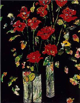 Three Vases with Roses by Elaine Elliott