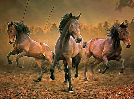 Three Wild Horses by Henri Leduc