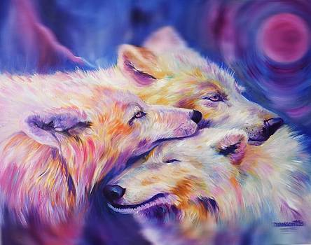 THREE WOLVES and PINK MOON by Kristina Delossantos