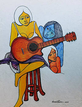 Three Women and a Guitar... by Jose Alberto Gomes Pereira