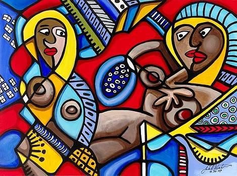Three women in the city by John Westerhold