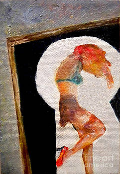 Through a Key Hole Pin-Up Girl by Simonne Mina
