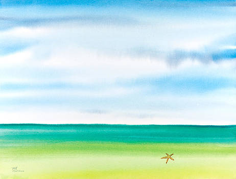 Michelle Constantine - Throwing Starfish Into the Sea Watercolor Painting