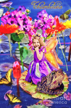 Thumbelina beside her toad in fairy tale pond by Fairy Tales Imagery Inc