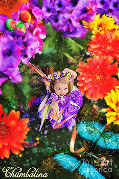 Thumbelina looks up holding her butterfly in fairy tale garden by Fairy Tales Imagery Inc