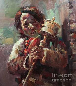 Tibetan Girl by Tony Song