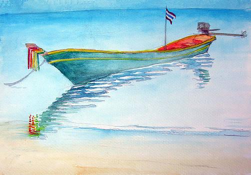 tied up on Bali beach by Jack Adams