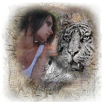 Tiger and beautiful girl by Alex Krasky