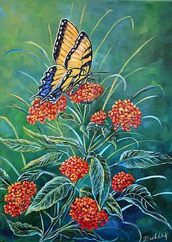 Tiger and Lantana by Gail Butler