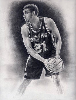 Tim Duncan Pencil Drawing by Angie Villegas