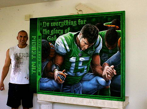Tim Tebow Original Painting by JOHN PRINCE  Auctioned at HIS  FOUNDATION CELEBRITY GOLF CLASSIC 2013 by Sports Art World Wide John Prince