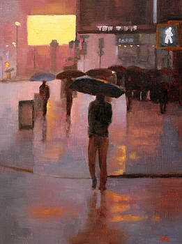 Times Square rain by Tate Hamilton