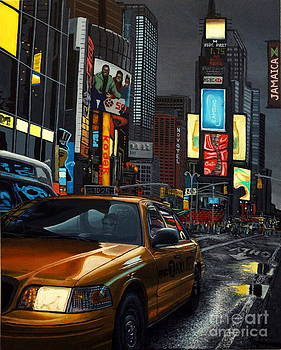 Times Square Taxi by Damir Selmanovic