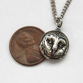 Tiny Barn Owl Pendant Necklace in Solid White Bronze by Michael  Doyle