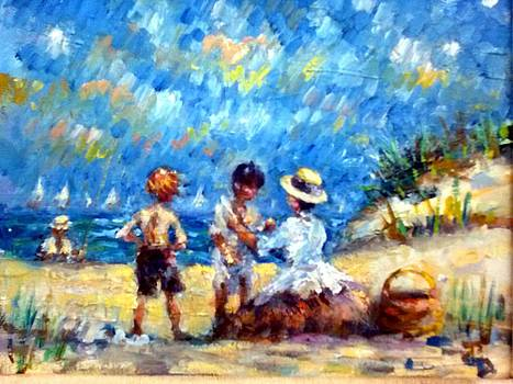Tom Steve With Gerry At The Beach by Philip Corley