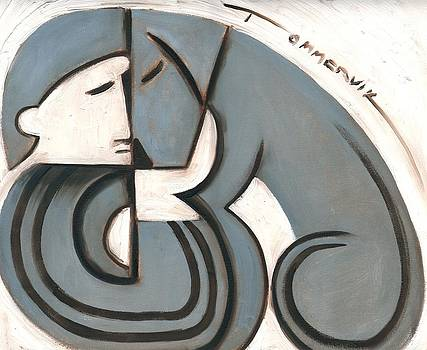 Tommervik Art Deco Man and Dog Art Print by Tommervik