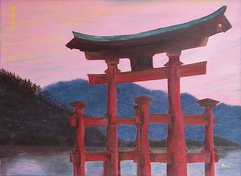 Torii on a pink sunset sky - Japanese landscape by Gianluca Cremonesi