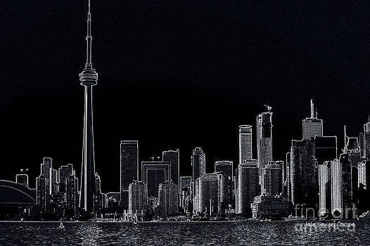 Toronto Skyline black and white abstract by Jale Fancey