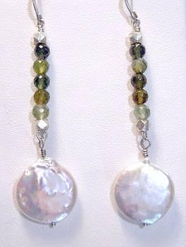 Tourmaline Pearl Sterling Surgical Steel Long Drop Earrings by Ann Mooney