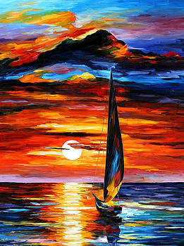 Towards The Sun - PALETTE KNIFE Oil Painting On Canvas By Leonid Afremov by Leonid Afremov