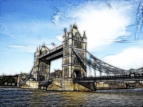 Tower Bridge London digital painting by Georgeta Blanaru