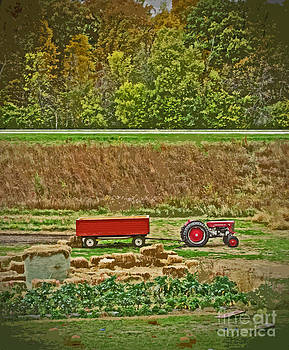 Minding My  Visions by Adri and Ray - Tractor and Wagon on the Farm Digital Photograph Painting