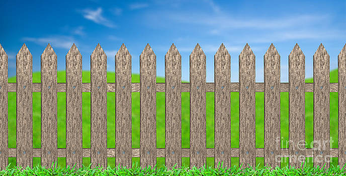 Traditional Fence With Meadow Background by Pakorn Kitpaiboolwat