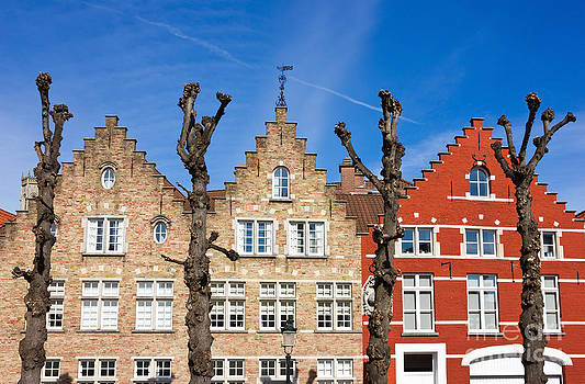Traditional old Belgium House Facades in Bruges by Kiril Stanchev
